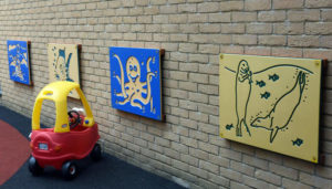 Some of the new wall plaques in the Outdoor Activity area, provided by Mr and Mrs Steve Cracknell